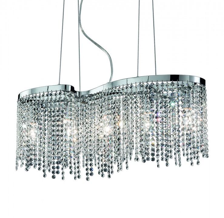pendelleuchte 5 flammig 65cm chrom h ngelampen bleikristall. Black Bedroom Furniture Sets. Home Design Ideas